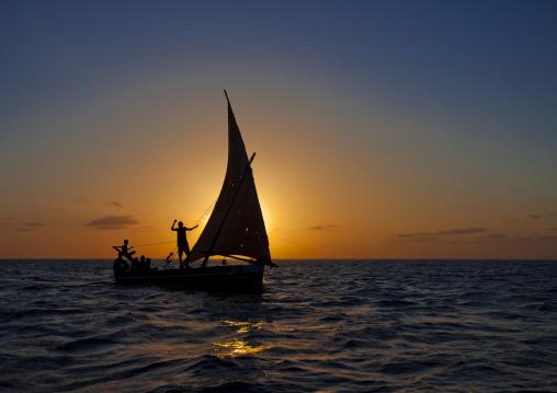 Men sailing on a dhow at sunset, Lamu County, Lamu, Kenya