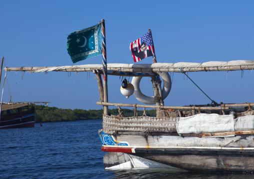Dhow with american flag with Obama, Lamu County, Lamu, Kenya