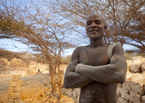 Man working in the coral stone quarry, Lamu County, Lamu, Kenya