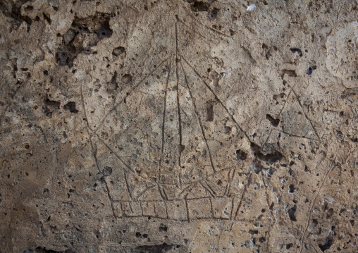 Takwa ruins drawing in the rock, Representation of a boat, Lamu, Kenya