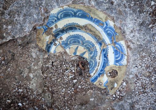 Plate incorporated in stone, Takwa ruins, Manda island, Lamu, Kenya