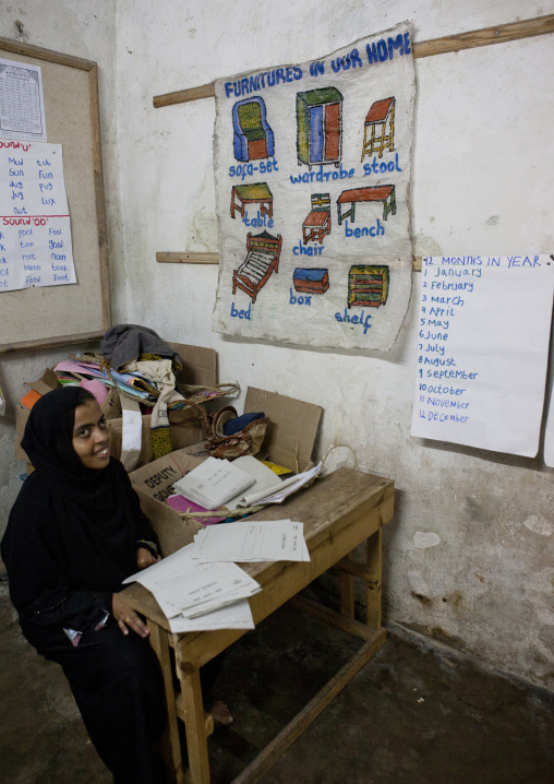 Teacher with hijab in classroom, Stonetown academy lamu, Kenya