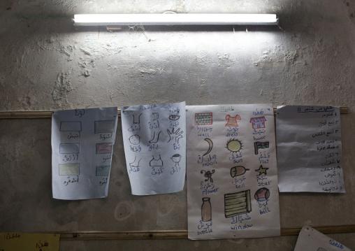 Bilingual drawings in stonetown academy classroom, Lamu County, Lamu, Kenya