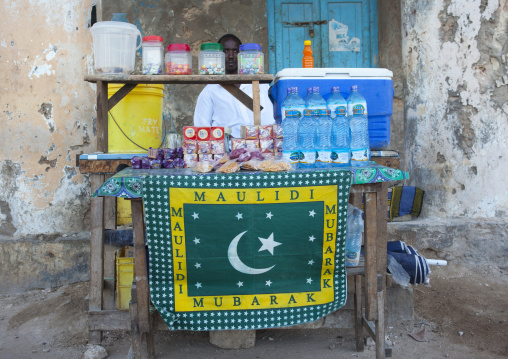 Street seller stall of drinks and candies, Lamu, Kenya