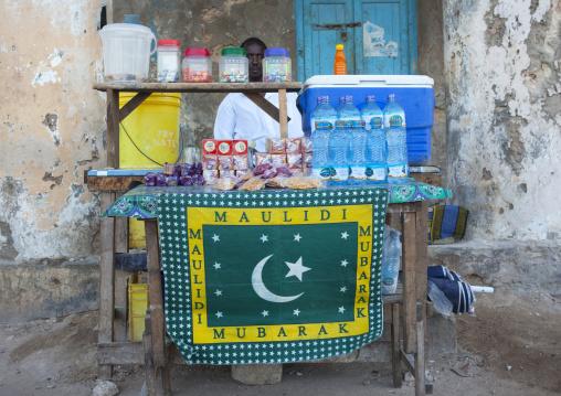 Muslim street seller stall of drinks and food, Lamu County, Lamu, Kenya