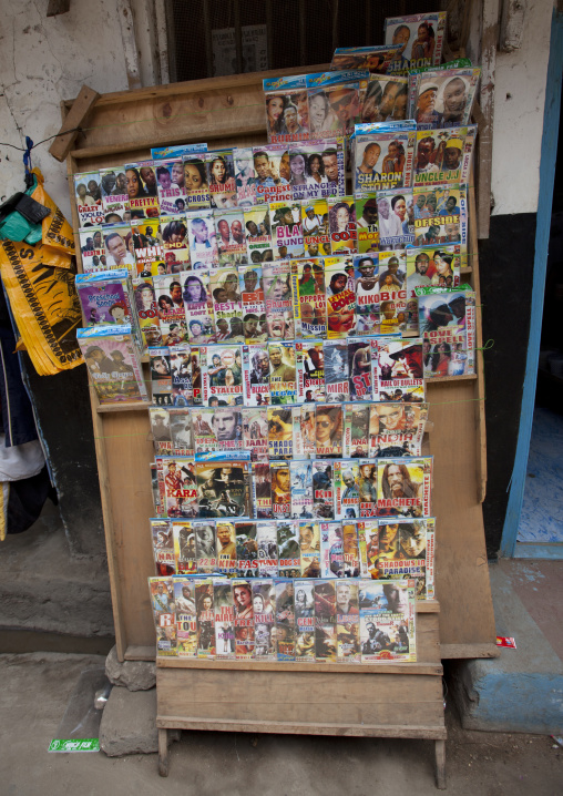 Dvd movie stall in a street of lamu, Kenya