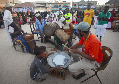 Drum musicians at maulidi festival goma stick dance, Lamu, Kenya