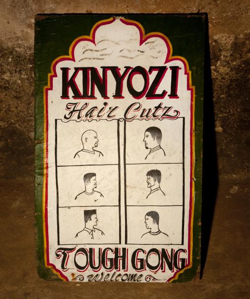 African haidresser sign, Lamu county, Lamu, Kenya