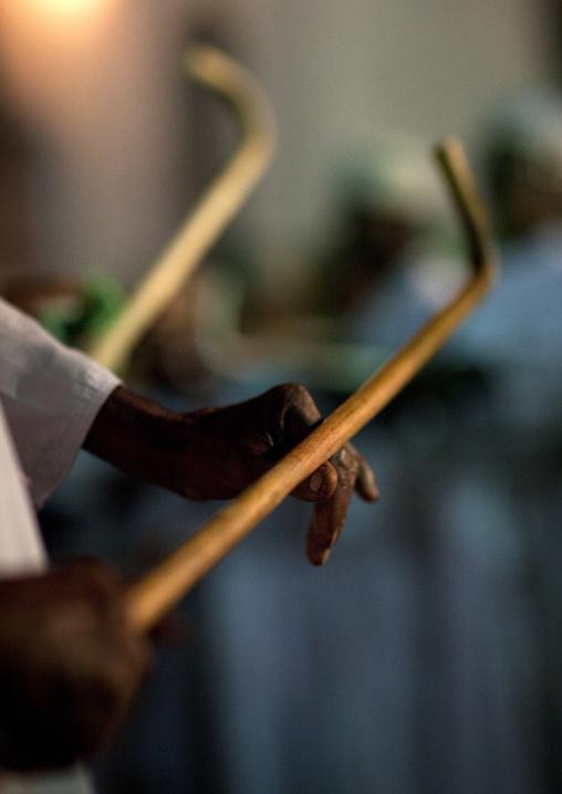 A goma, Shepherd woodstick during a dance, Maulidi festival, Lamu, Kenya