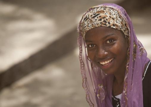 Portrait of a smiling swahili girl, Lamu County, Lamu, Kenya