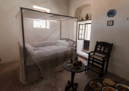Traditional bedroom in a swhaili house, Lamu County, Lamu, Kenya