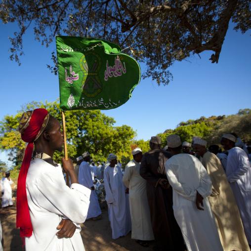 Crowd gathering in the lamu cemetery celebration of maulidi, Lamu, Kenya