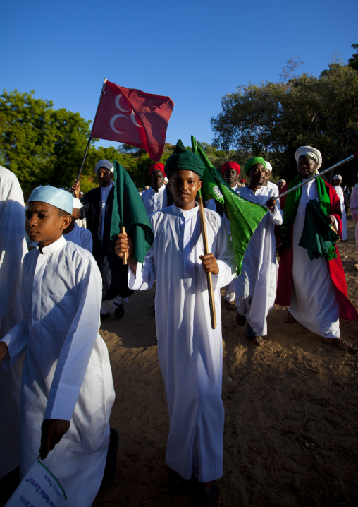 Male procession, Tribute to the shariff, During maulidi festival, Lamu, Kenya