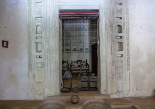 Carved plasterwork in a swhahili house, Lamu County, Lamu, Kenya