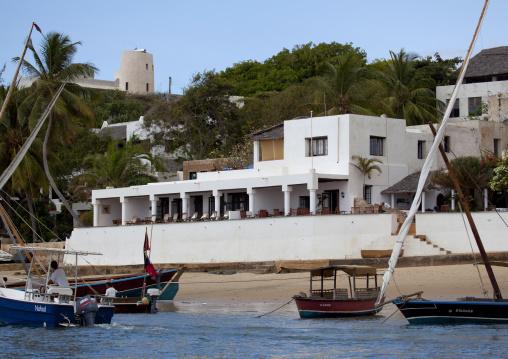 Peponi hotel near the beach and mooring dhows, Shela, Lamu kenya