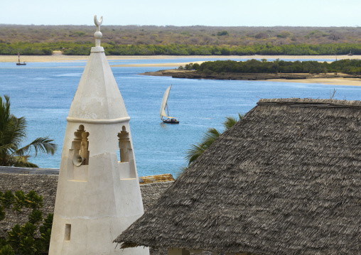 A view of the friday mosque over the channel, Lamu County, Shela, Kenya
