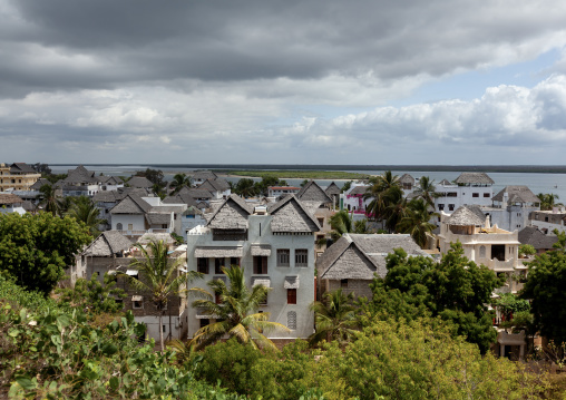 Stone townhouses and luxury mansions with thatched roofs, Lamu County, Shela, Kenya