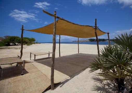 Sun umbrella on the lamu sand beach, Lamu, Kenya