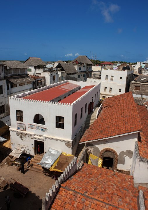 High angle view of the old town with stone townhouses, Lamu County, Lamu, Kenya