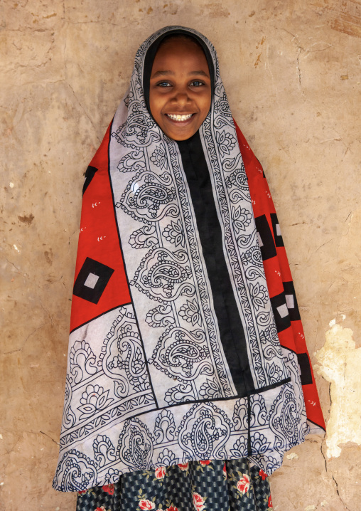 Girl wearing traditional costume, Pate island, Siyu, Kenya