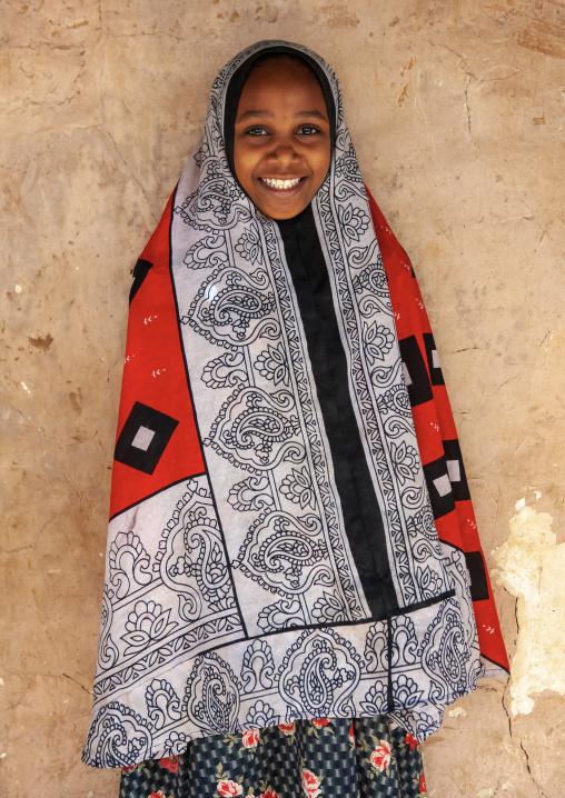 Portrait of a smiling swahili girl, Lamu County, Siyu, Kenya