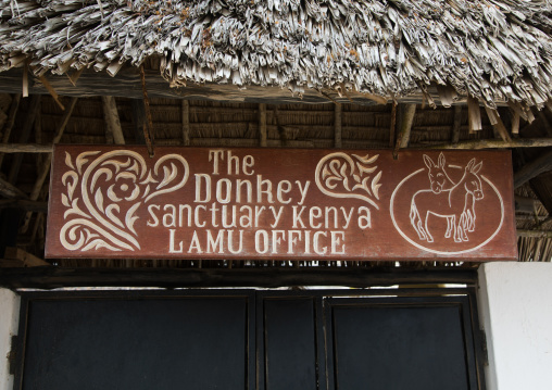 A sign for the the donkey sanctuary, Lamu county, Lamu town, Kenya