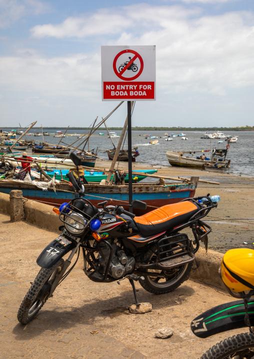 Boda boda motorbikes taxi on the port, Lamu county, Lamu town, Kenya