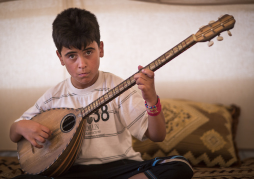 Dylan, A Blind Syrian Refugee Playing Saz, Erbil, Kurdistan, Iraq