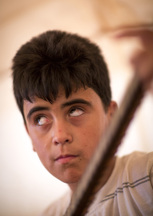 Dylan, A Blind Syrian Refugee Playing Saz, Erbil, Kurdistan, Iraq