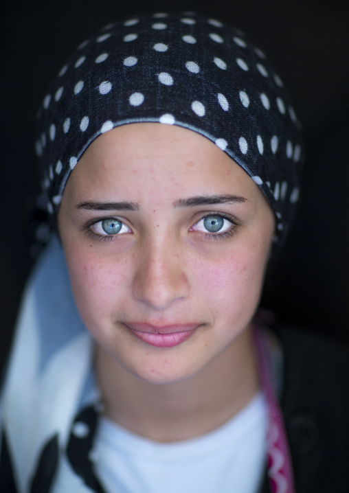 Close-up Of A Young Syrian Refugee Face With Blue Eyes, Erbil, Kurdistan, Iraq