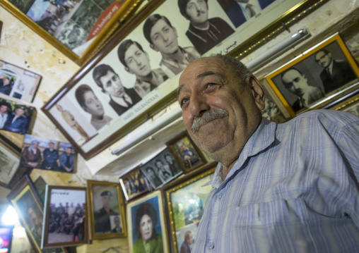 Armenaian Man Inside A Cafe In Qaysari Bazaar, Erbil, Kurdistan, Iraq