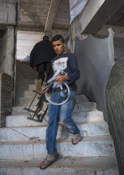 Yezidi Refugee Man Displaced From Sinjar Living In An Under Construction Building, Duhok, Kurdistan, Iraq
