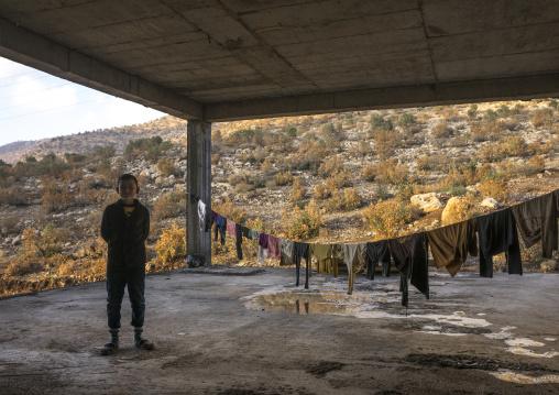 Yazidi Refugee From Sinjar Living In An Under Construction Building, Duhok, Kurdistan, Iraq