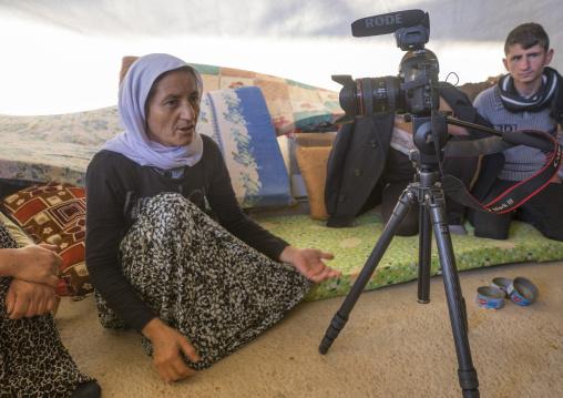 Yezedi Refugee Woman From Sinjar Giving An Interview, Duhok, Kurdistan, Iraq
