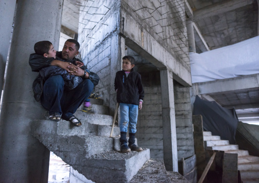 Yezidi Refugees Displaced From Sinjar Living In An Under Construction Building, Duhok, Kurdistan, Iraq