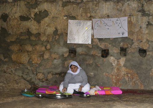Yezedi Refugee Woman Displaced From Sinjar Living Inside Lalesh Temple, Kurdistan, Iraq