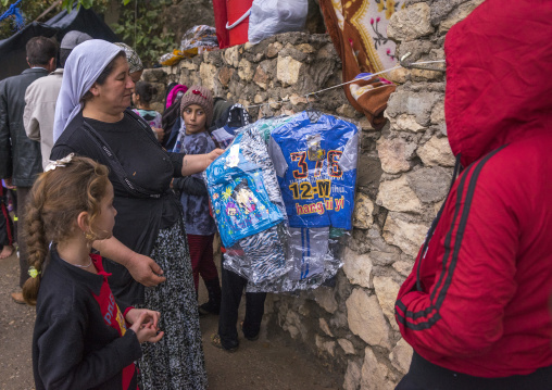 Yezedi Refugees From Sinjar Receiving Clothes From Ngo, Lalesh Temple, Kurdistan, Iraq