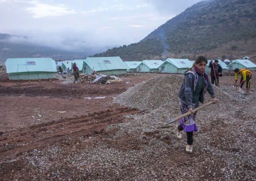 Yezedi Refugees Displaced From Sinjar Making A New Road In A Camp, Lalesh Temple, Kurdistan, Iraq
