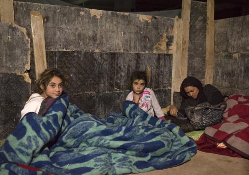 Yezedi Refugees From Sinjar Sleeping In The Cold, Duhok, Kurdistan, Iraq