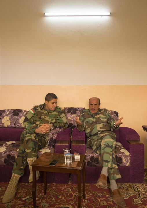 Kurdish Peshmergas Inside An Office On The Frontline, Duhok, Kurdistan, Iraq