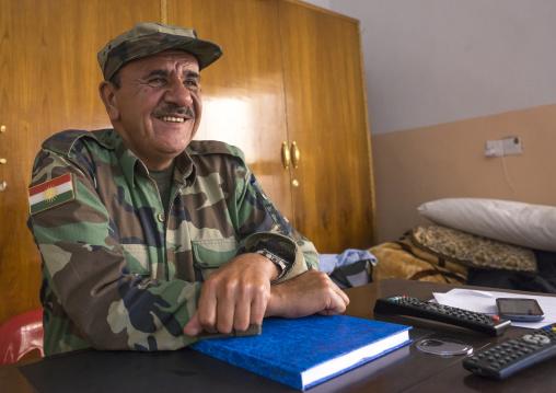 Kurdish General Peshmerga In His Office On The Frontline, Duhok, Kurdistan, Iraq