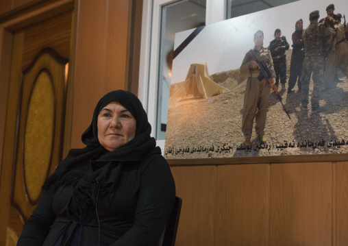 Nasrin Hamalaw With A Picture Of Her Dead Daughter, Peshmerga Captain Rangin Yousuf, Sulaymaniyah, Kurdistan, Iraq