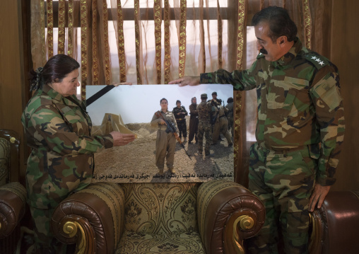 Nasrin Hamalaw And Yousuf Majid With A Picture Of Their Dead Daughter Killed By Daesh, Captain Rangin Yousuf, Sulaymaniyah, Kurdistan, Iraq