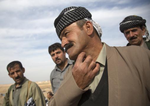 Kurdish Peshmergas Veteran Showing A Wound On His Neck, Kirkuk, Kurdistan, Iraq