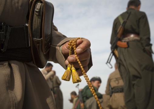 Kurdish Peshmergas Praying On The Frontline, Kirkuk, Kurdistan, Iraq