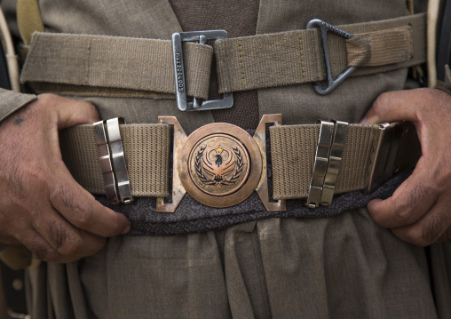 Kurdish Peshmerga Hands On Patriotic Union Of Kurdistan Belt, Kirkuk, Kurdistan, Iraq