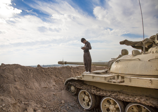 Kurdish Kid On A Tank, Kirkuk, Kurdistan, Iraq