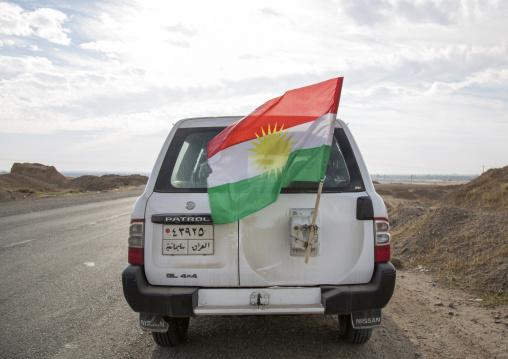 Peshmerga Car With A Kurdish Flag, Kirkuk, Kurdistan, Iraq