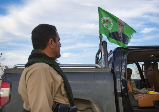Peshmerga Car With A Patriotic Union Of Kurdistan Flag, Kirkuk, Kurdistan, Iraq