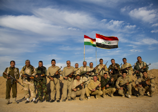 Kurdish Peshmergas On The Frontline, Kirkuk, Kurdistan, Iraq